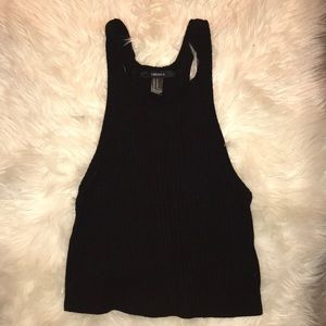 Forever 21 black ripped long crop top